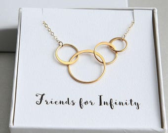 Four Friends Necklace, Friends for Infinity Necklace, Gift for Best Friends, Gold Ring Necklace, Four Circles Necklace, 4 Rings Necklace
