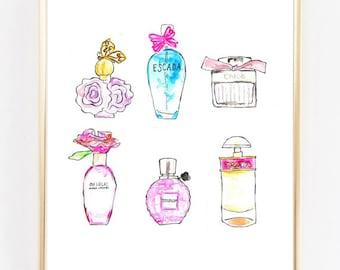 Perfume Print, Beauty Art, Vanity Print, Fashion Print,Home Decor, Watercolor Fashion Illustration, Wall Art, perfume bottle, chanel