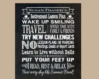 Teacher Chalkboard Retirement Gift, Teacher Retirement Chalkboard Print, Principal Retirement, Personalized Print, Retiree Chalkboard Print