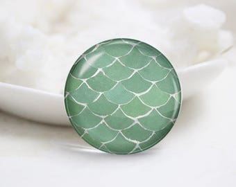Fish Scale Photo Glass Cabochons (P3846)