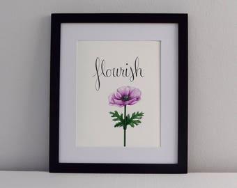 Flourish Hand Lettering Fine Art Print  / Botanical Painting, Floral Art, Fine Art, Wall Art, Canvas Art, Acrylic