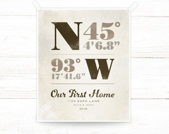Realtor Closing Gift, Personalized Print of Latitude and Longitude Coordinates of your clients new home
