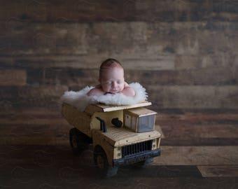 Newborn Digital Backdrop Tonka Truck Rustic Organic