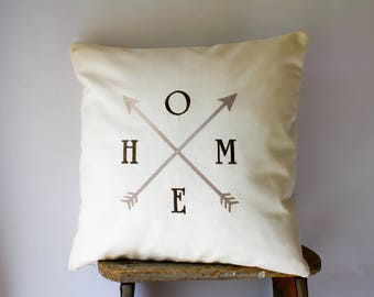 Home Arrow Embroidered Pillow, Modern Farmhouse Decor, Rustic Farmhouse Pillow Cover, Farmhouse Fresh, Rustic Arrow Pillow Housewarming Gift