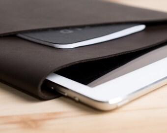 Dark Brown iPad Leather Case One Pocket, iPad Sleeve, Leather iPad Cover, new iPad 9.7, iPad Pro 10.5 and 12.9 inch , Monogrammed Mens Gift