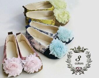 Toile Toddler Ballet Slipper, Pink Girls Baby Shoes, Baby Ballet Flats, Pink, Green, & Blue, Flower Girl, Wedding Shoe, Dance, Baby Souls