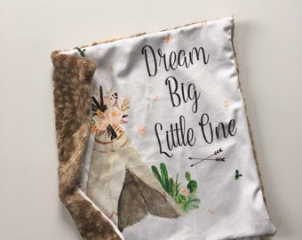 Dream big little one lovey tp floral cactus, teepee lovey security blanket 16 inches x 16 inches, minky nursery, girl baby bedding