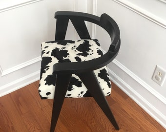 Mid Century Scissor Leg Chair with Faux Cowhide
