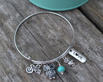 Mom Gift, Gift for Mom, Mom Gifts, Gifts for Mom, Mom Bangle Bracelet, Mom Bracelet, Mom Charm Bracelet, Mom Jewelry, Special Mom Jewelry
