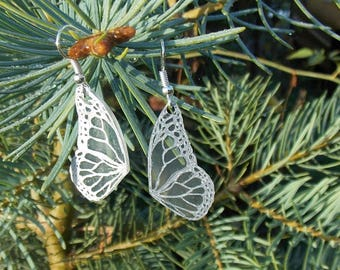 Silver Veined Butterfly Wing Earrings, Silver Fairy Wing Earrings, Fairy Dangle Earrings, Shrinking Plastic Jewelry, Hand Drawn Jewelry A12