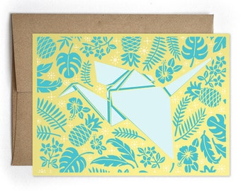 Origami Crane Greeting Card, Modern Card for Him or For Her, Paper Crane - Origami Paper Crane Cards