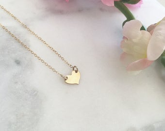 Gold Heart Necklace • Rose Gold Dainty Jewelry • Sterling Silver Heart Layering Necklace • Short Love Necklace