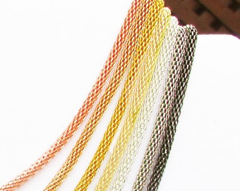 LOT OF SEVEN Metallic 3mm Mesh Necklaces sampler--Hollow Snake Chain Necklaces fit European Charms and Beads