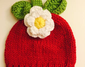 Strawberry Shortcake Hat - Newborn winter hat - Baby winter hat - Strawberry shortcake costume - Baby Strawberry Photo Outfit - Knit Baby