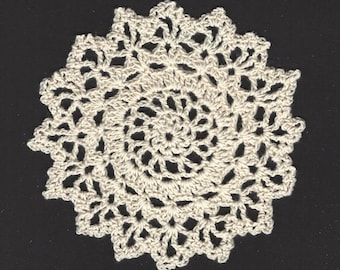 Vintage Handmade Crochet Medallion 5 Inch Ecru, Cream Colored Doily to use in Wearable Art & an Embellishment to Projects PSS 3345