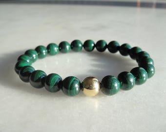 Gorgeous womens malachite bracelet with 18k solid gold bead / Stone green bracelet womens malachite bracelet 18 karat gold malachite