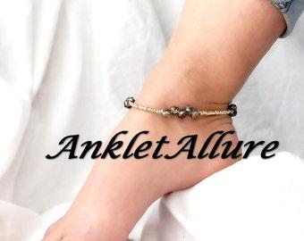 Gold BEADED Anklet Ankle Bracelet Dark PURPLE Crystal Anklets for Women GUARANTEED