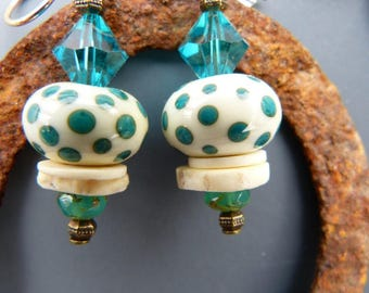 Ivory and Turquoise Lampwork Glass Bead Earrings