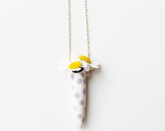 White and purple polkadot Fresh flower ceramic vase necklace