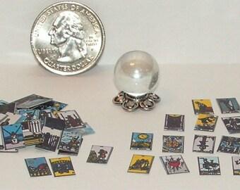 Dollhouse Miniature Halloween Crystal Ball & Tarot Card Set 1:12 One Inch Scale H32 Dollys Gallery