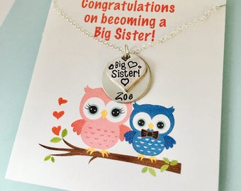 Big Sister Necklace, Big Sister Gift, Personalized Big Sister Necklace, Congratulations on Being a Big Sister