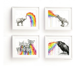 Animals Rainbow Watercolor Art Prints, Rainbow Animals, Rainbow Puke, Taste the Rainbow, Colorful Prints, Animals Watercolor Print Set of 4