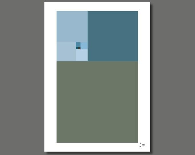 Fibonacci Winter [mathematical abstract art print, unframed] A4/A3 sizes