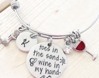 Toes in the water - Hand stamped bracelet - Beach Lover bracelet - Gift for wine lover - Toes in the sand- Wine gift
