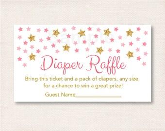 Twinkle Star Diaper Raffle Tickets / Glitter Star Diaper Raffle / Twinkle Star Baby Shower / Baby Girl Shower / INSTANT DOWNLOAD A196