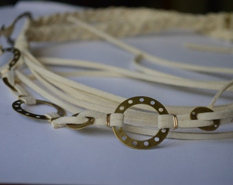Athena  Brass Gold and Creme Suede Belt