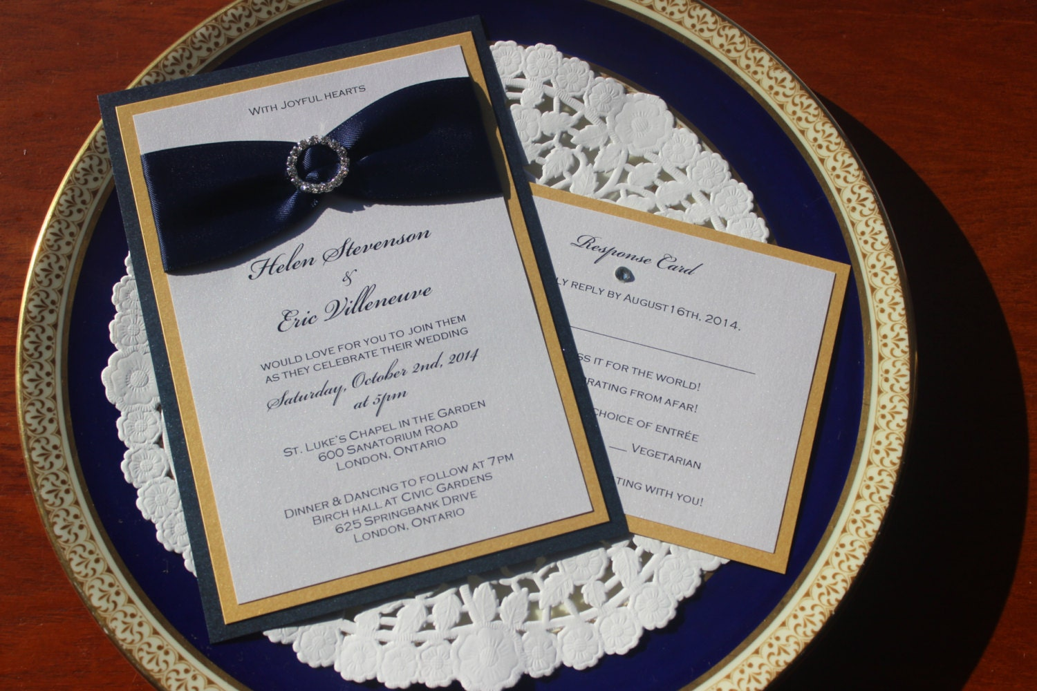 Navy Blue and Gold Wedding Invitations The Helen