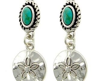 Sale  Sand Dollar Earrings, Turquoise Sand Dollar Charm Dangle, Sea Life, Seashell jewelry, Beach, Marine Animal, Minimalist, Summer, Gemsto