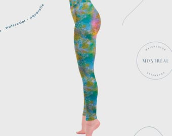 Mermaid Leggings, mermaid pants, mermaid outfit, spandex leggings, wide waistband, mermaid print, rainbow leggings, unique leggings, fitted