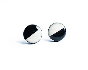 White black stud earrings, monochrome jewelry