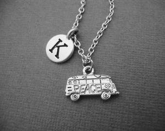 Hippie Van Necklace, Personalized Hippy Van Keychain Keyring, Peace and Love Van Bangle Bracelet, Gift for Vintage Car Lover 60's 70s