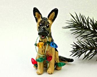 German Shepherd Dog Porcelain Christmas Ornament Figurine with Lights