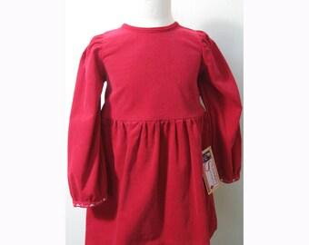 Poppy Red Corduroy Winter Dress Age 4 by Serendipity Girls Designer Dresses