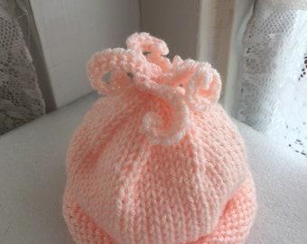 Sparkle blush hand lnit baby hat