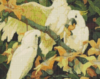 Parrot Cross Stitch Chart, Bird Cross Stitch Pattern PDF, Art Cross Stitch, Sulphur Crested Cockatoos by Jessie Arms Botke