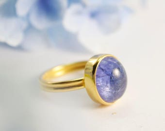 Gold Plated Sterling Silver - Size 6.5 US - Gemstone Ring - Gold Tanzanite Jewelry - Nature Tanzanite Ring