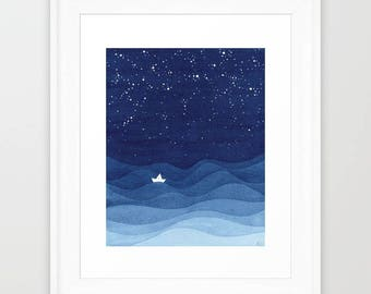 Giclee print nautical wall decor watercolor painting kids art sailboat decor wall hanging nursery art navy blue art ocean illustration