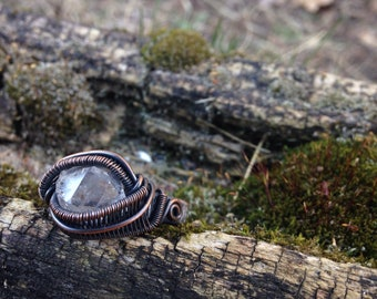 Copper Wire Wrapped Raw Herkimer Diamond Ring - sz 9.25