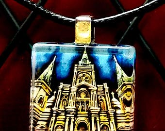 St. Louis Cathedral New Orleans one inch Glass Tile Pendant with cord