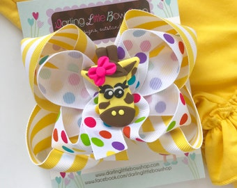 "Giraffe hairbow in yellow and rainbow polka dots - 5"" double bow"