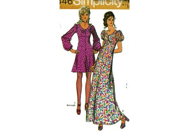 1970s Long or Mini Dress UNCUT Sewing Pattern Size 14 Bust 36 Simplicity 9446 Maxi Dress Puffed Sleeves