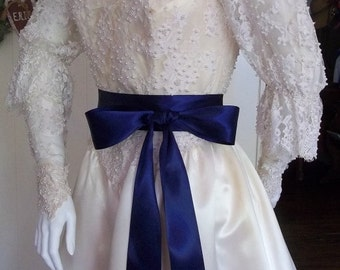 Navy Blue Satin Sash Belt, 2 1/4 inch Double Faced Satin Bridal Bridesmaid Sashes, Flower Girl Sash in Navy Blue Double Faced Satin