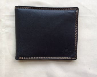 Vintage black leather pocket wallet, billfold wallet.90s Rowellan wallet.