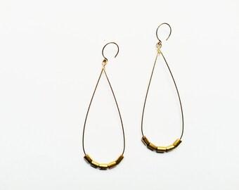 RAIN | Simple Brass Teardrop Long Earrings