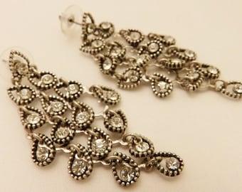 Silver Tone Long Dangle Rhinestone Chandalier Earrings