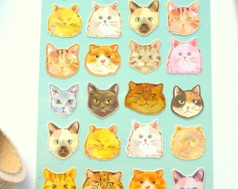 Cat Stickers Cute Cats Faces Kawaii Stickers for Scrapbooking and Planners